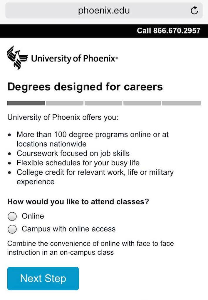 This picture shows how the University of Phoenix uses a short form on its mobile landing page to increase conversions.