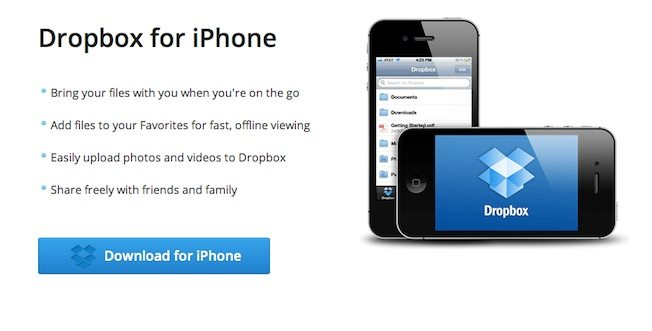 DROPBOX for iPhone App Landing Page