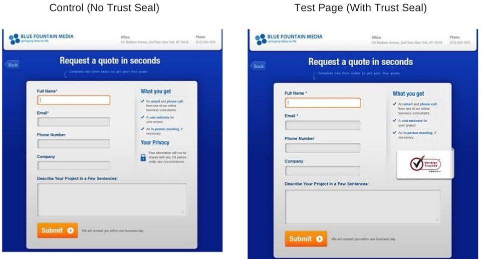 A.B test trust seal