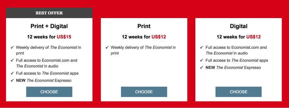 economist new pricing
