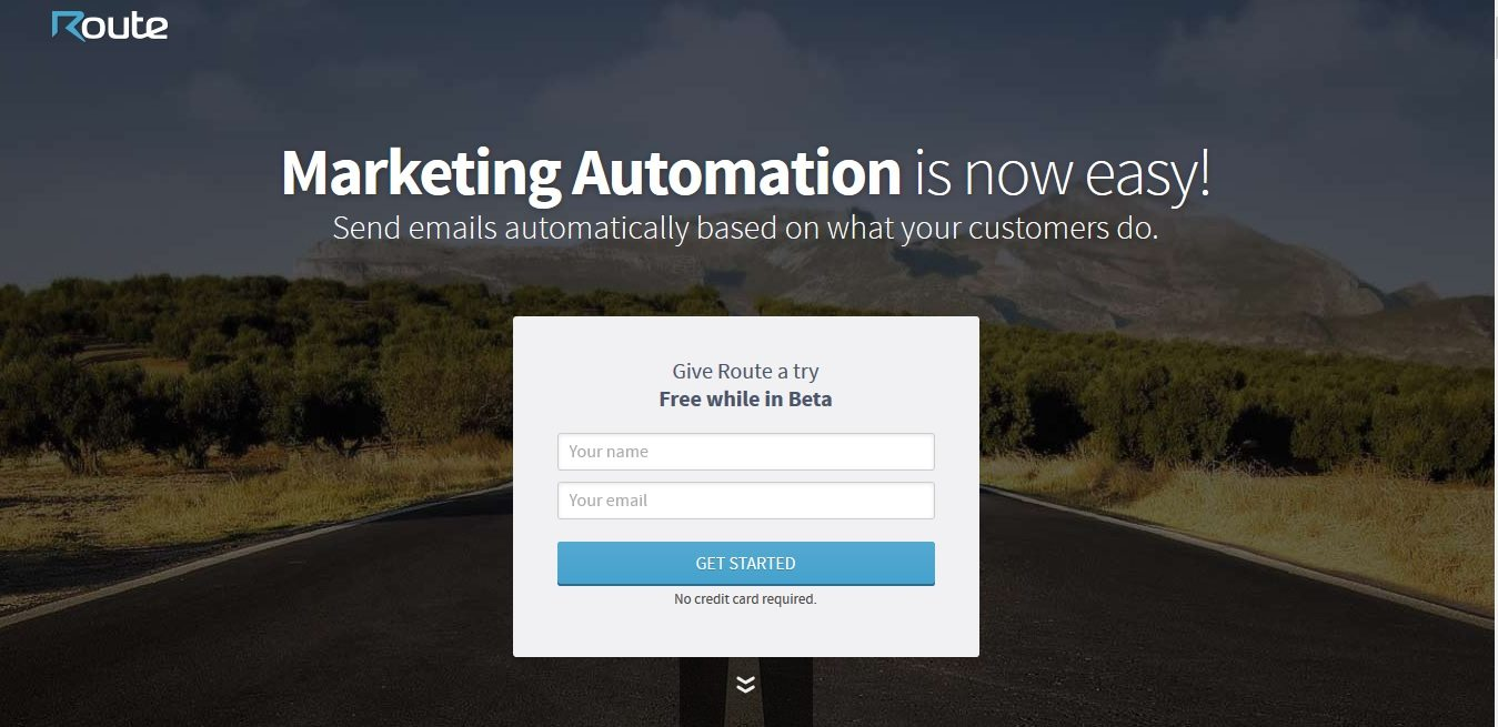 route landing page