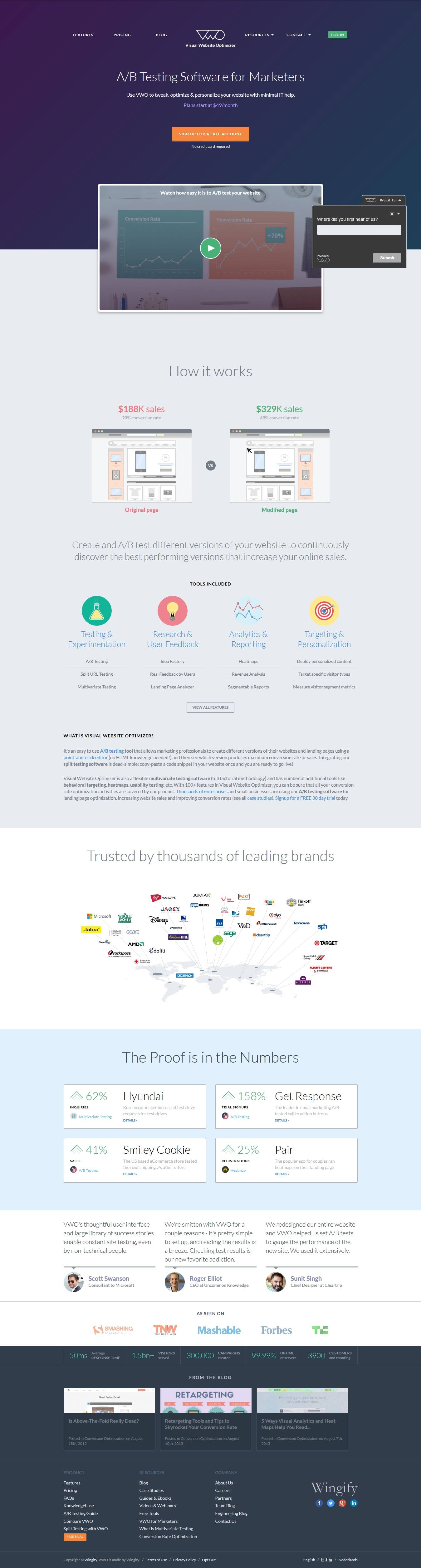 VWO homepage