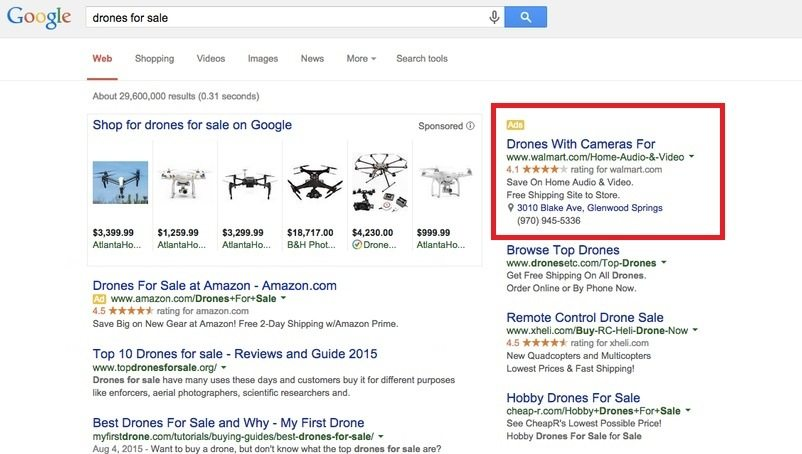 drones for sale ppc ad