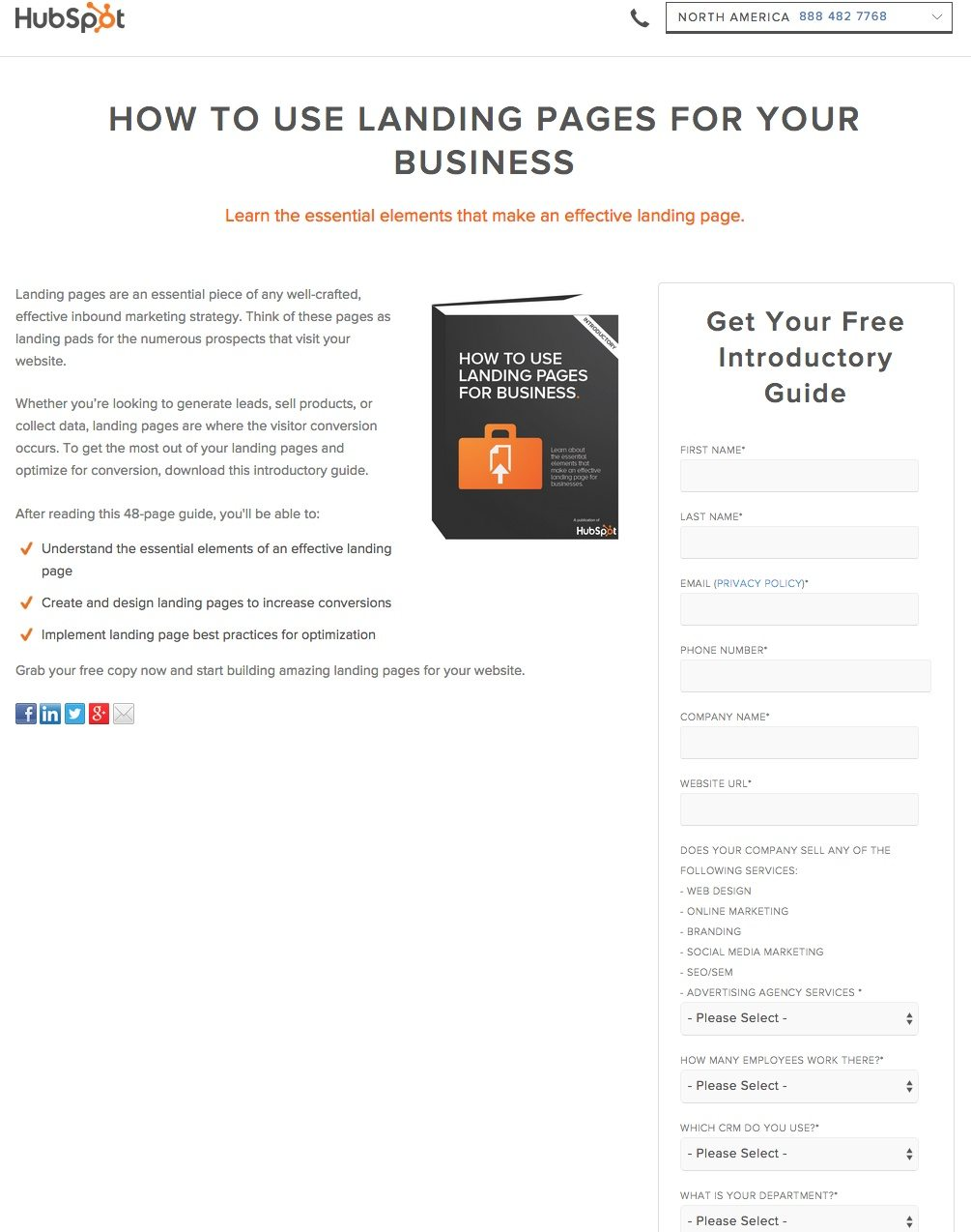 A HubSpot B2B landing page form that uses many fields to capture customer information.