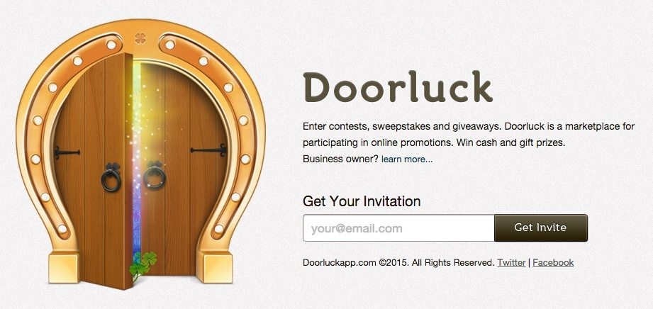 "Doorluckapp's coming soon landing page is intriguing because it teases visitors, ""what's behind the door?"""