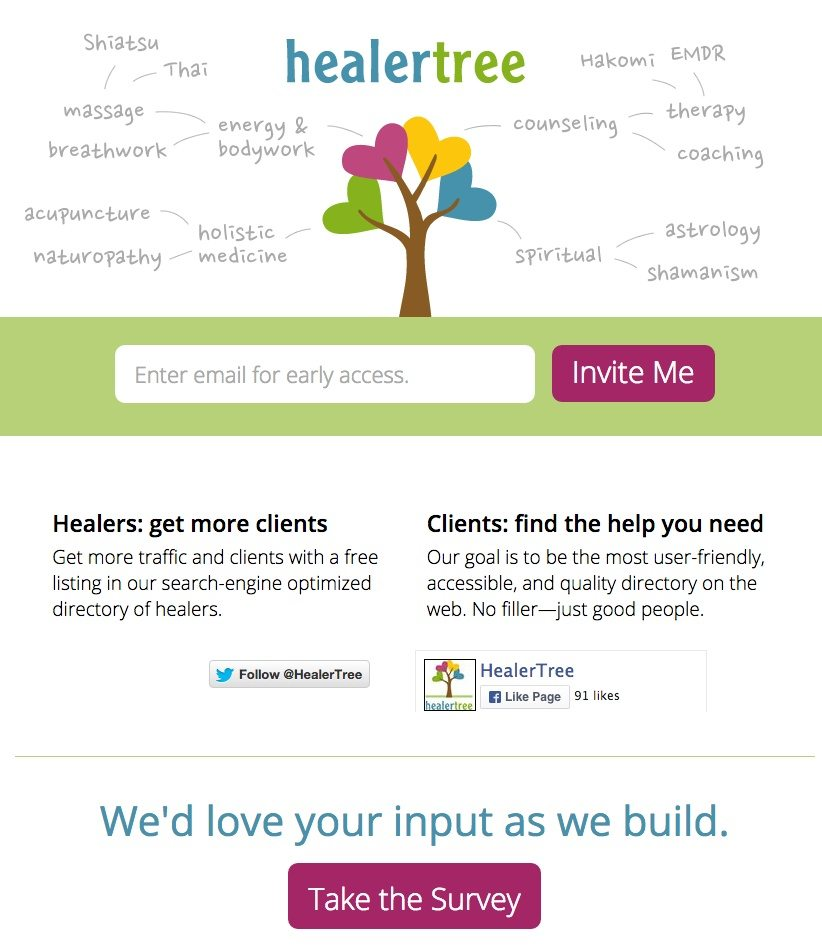A coming soon landing page by Healertree that encourages visitors to enter their email address.