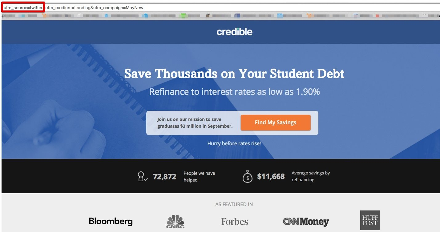 Credible Labs' Twitter landing page demonstrates best practices for increased conversions.