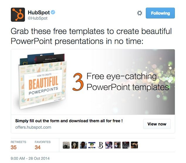 A HubSpot tweet that shows the importance of using a Twitter landing page for conversions.