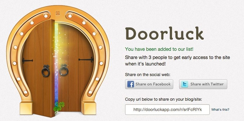 Doorluckapp's coming soon landing page thank you screen is a great example of how to use social sharing buttons to reach a larger audience.