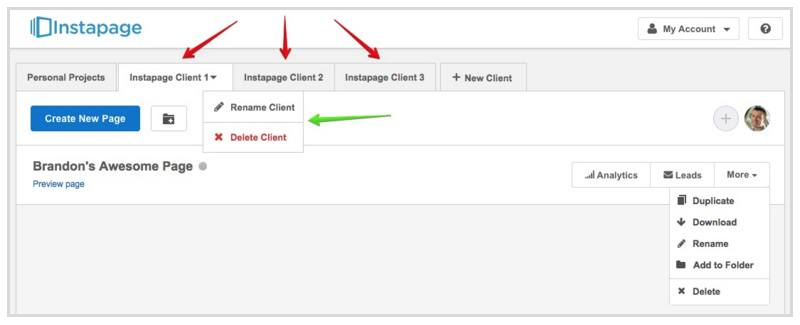 This screenshot shows Instapage's new client account layout with organized tabs.