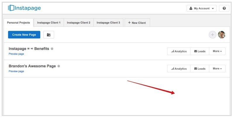 This screenshot shows Instapage's cleaner dashboard.