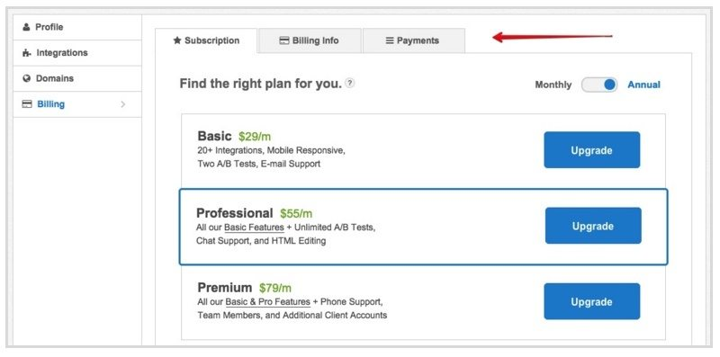 This screenshot shows Instapage's new billing tabs layout.