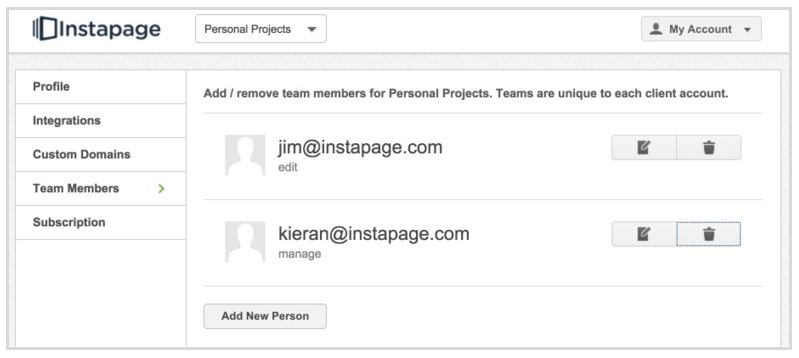 This screenshot shows Instapage's old team member page.