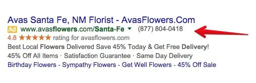 This screenshot shows how AdWords call extensions appear on desktop.