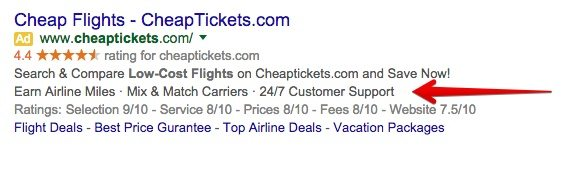 This screenshot shows how AdWords callout extensions appear in ads.