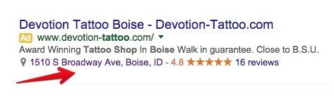 This screenshot shows how a Google AdWords location extension can make ads larger and generate clicks.