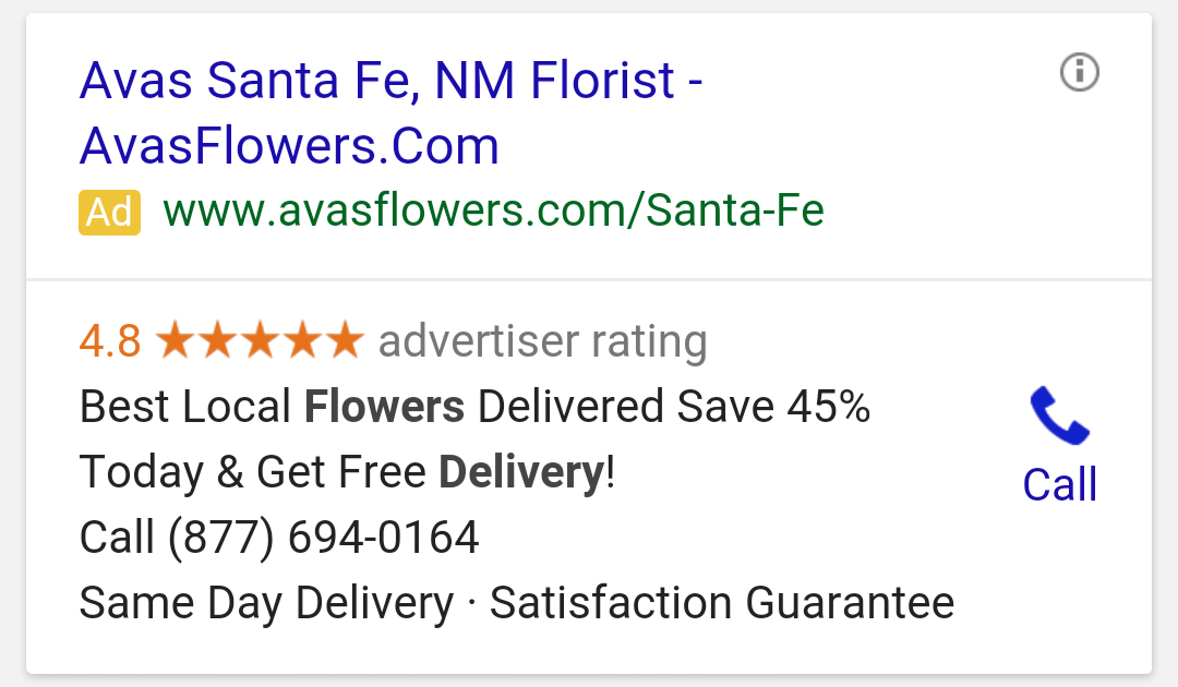 This screenshot shows how AdWords call extensions appear on mobile.