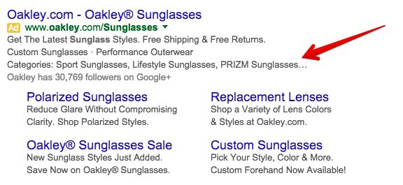 This screenshot shows how Structured Snippet extensions appear in ads.