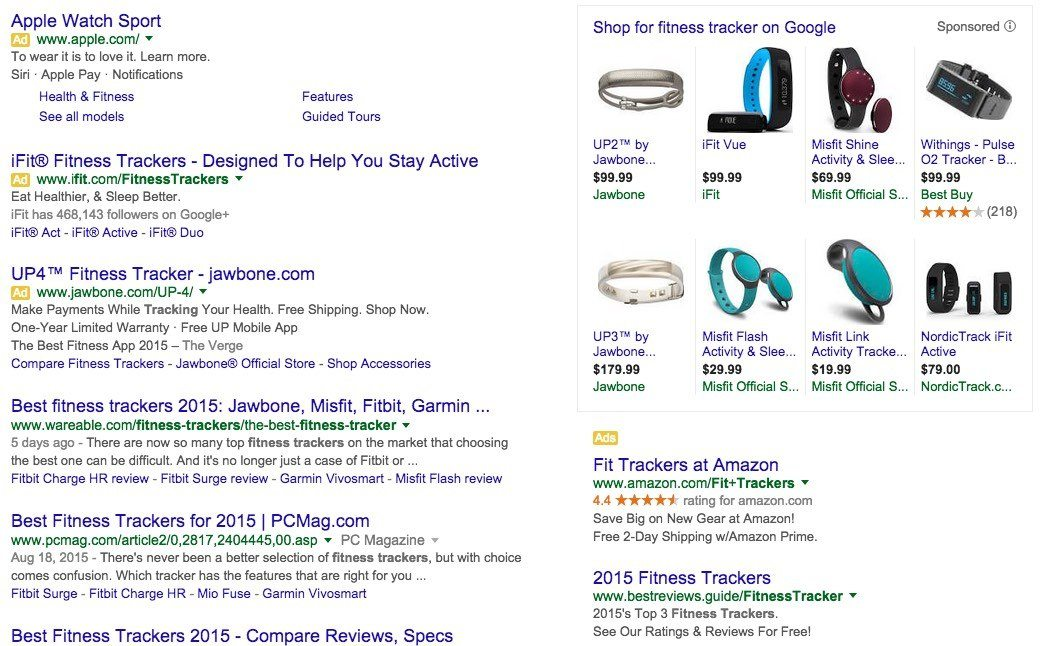 Google search result that shows AdWords extension for ads in right margin.