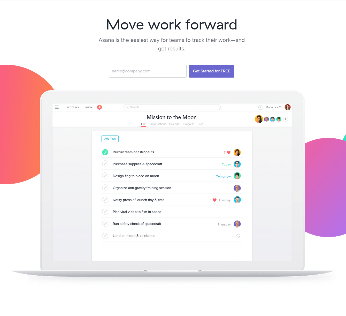 Asana shows how to use graphics on its landing page to demonstrate its product features.