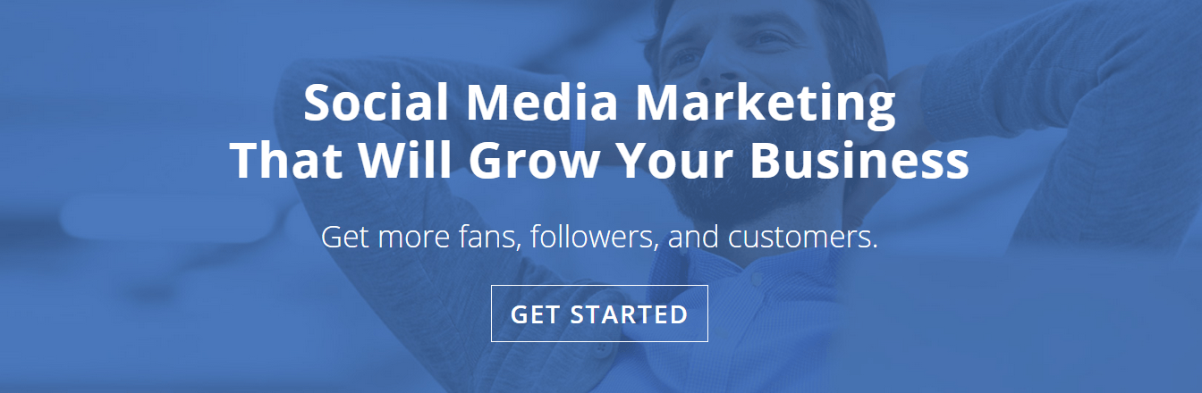 Boost Social demonstrates how to combine photography and graphics on its landing page.
