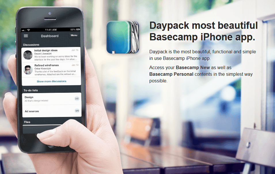 Daypack shows how to use graphics to give customers a guided tour of their app.