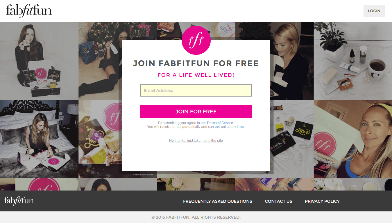 FabFitFun's high converting squeeze page features happy clients as social proof.