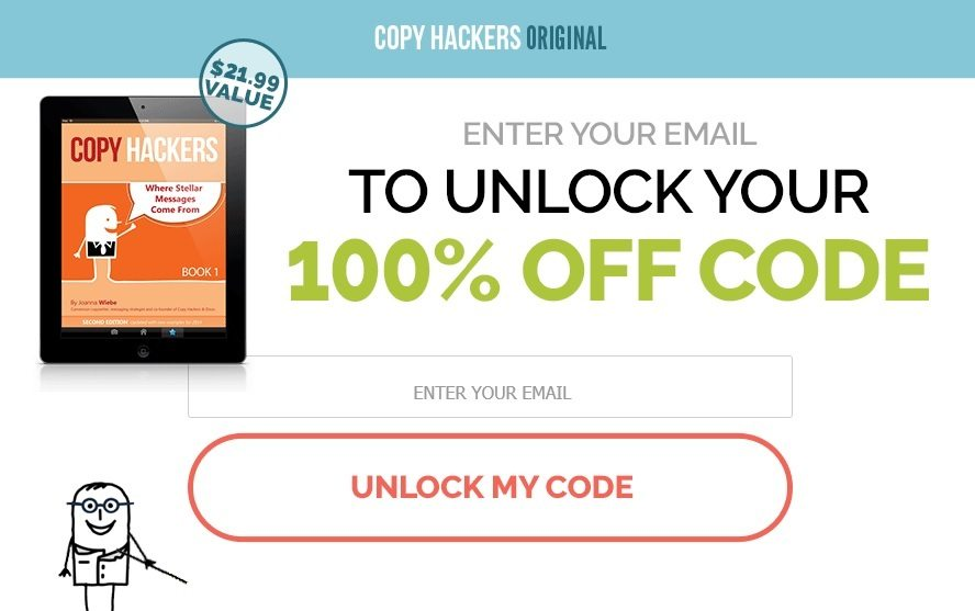 Copy Hackers' squeeze page offers a price discount to encourage conversions.
