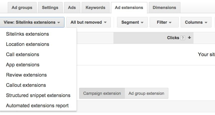 This screenshot shows how to setup Google AdWords extensions quickly and easily.
