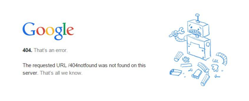 This picture shows Google's 404 page telling the visitor the URL could not be found.