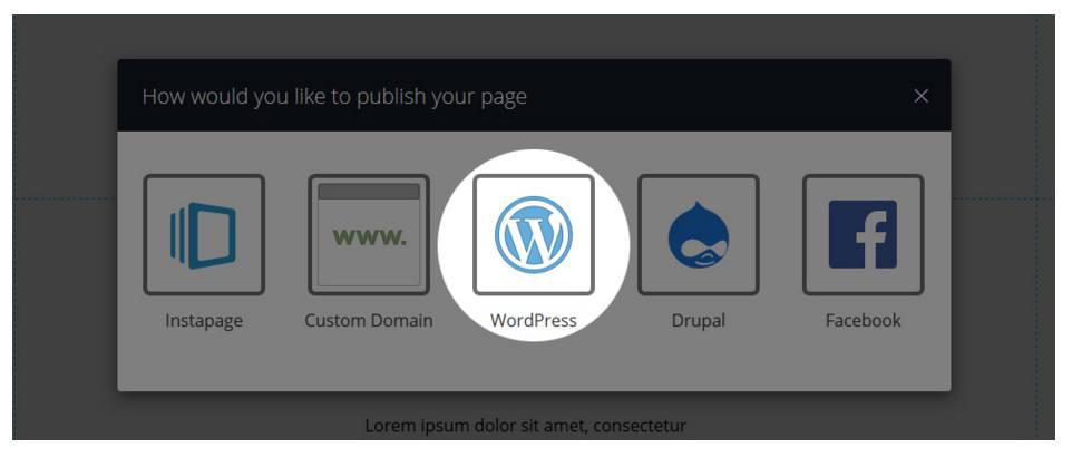 This picture shows step 2 in making a 404 page in Instapage's WordPress plugin.