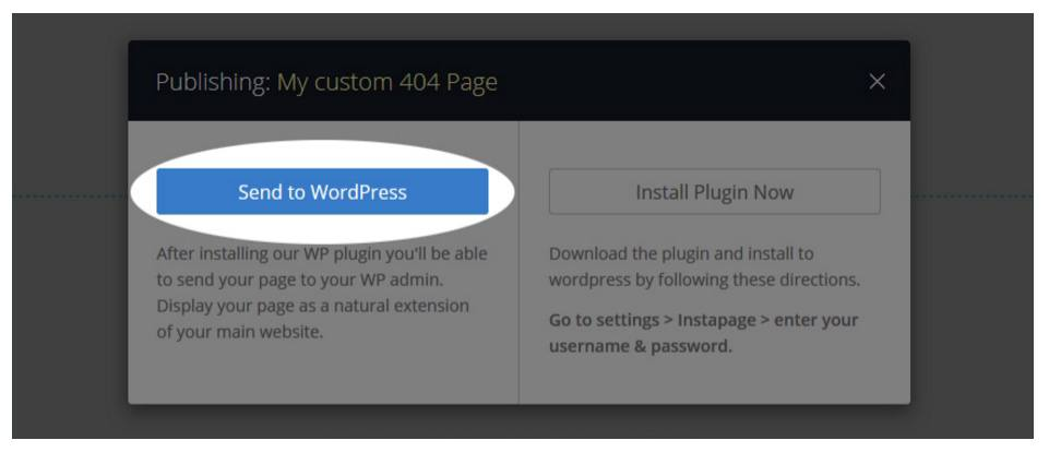 This picture shows step 3 in making a 404 page in Instapage's WordPress plugin.