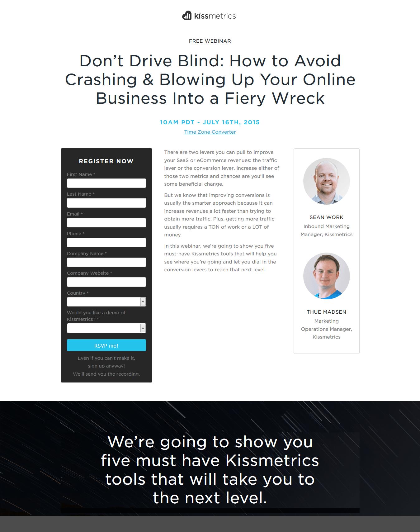 Kissmetrics shows how to use presenter headshots and photography on its webinar landing page.