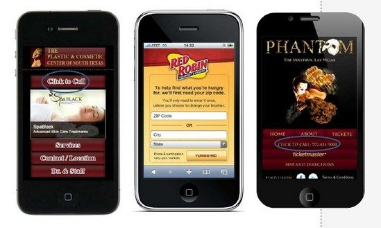 These mobile landing pages all have click-to-call calls-to-action.