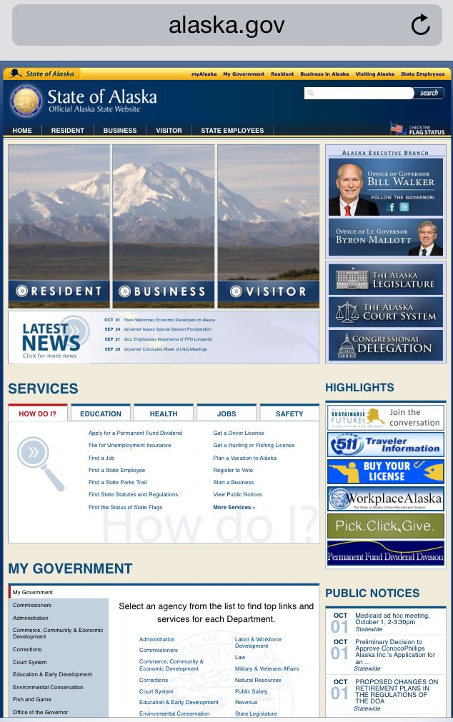 The state of Alaska's homepage is a great example of a non-mobile responsive landing page.