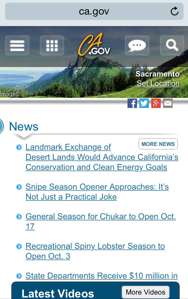 The state of California's website is a great example of a mobile-responsive landing page.