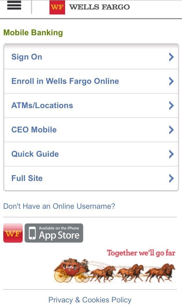 Wells Fargo's homepage is a great example of a simplified landing page with easy to read content and clickable links.