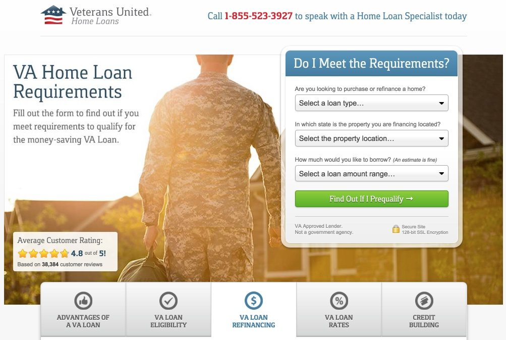 VA Home Loans' mortgage landing page shows how to collect sales qualified leads.