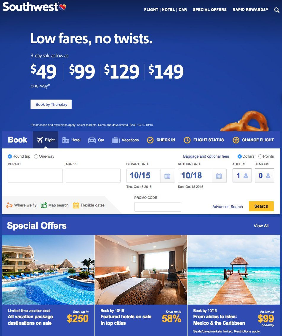 This picture shows how Southwest airlines uses information overload on its landing page.