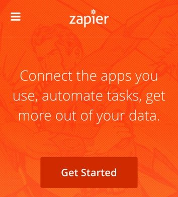 This mobile screenshot shows how Zapier designed their landing page.