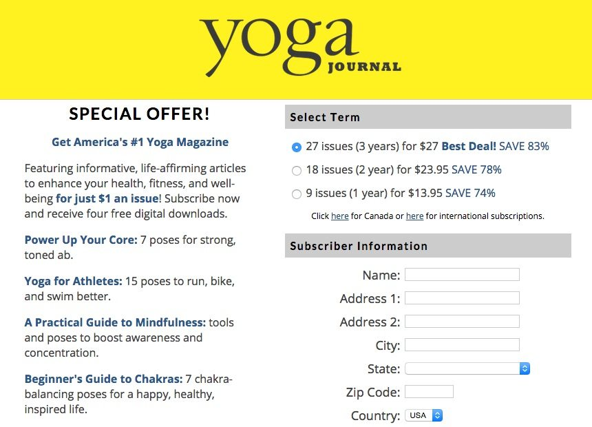 This picture shows how a poorly designed yoga landing page.