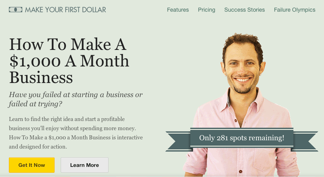 Noah Kagan shows how to use photography on his landing page to introduce himself.