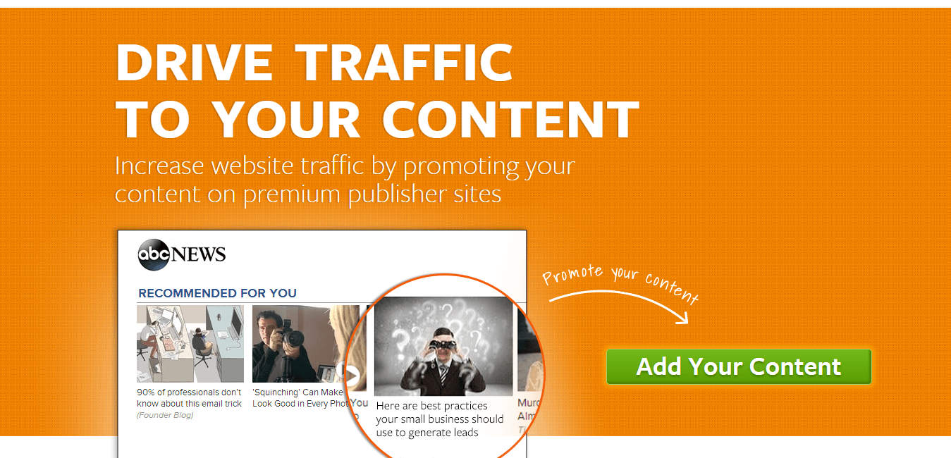 Outbrain shows how to use directional cues and graphics to convert its landing page visitors.