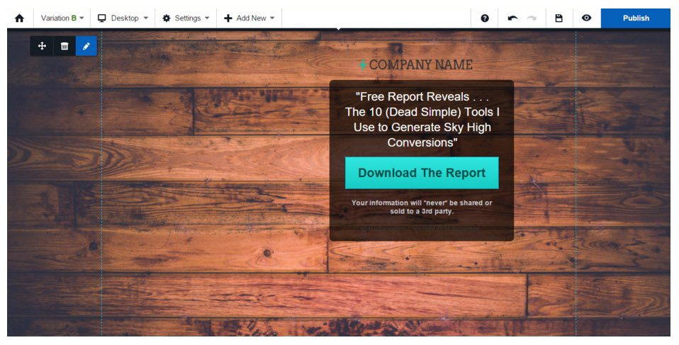 This landing page template shows how changing the background can increase conversions.