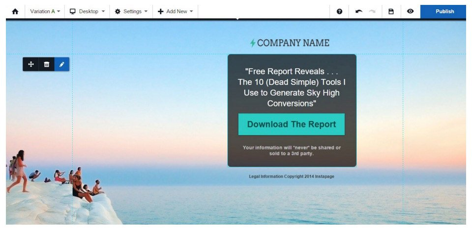 This landing page template shows how A/B testing can increase conversions.