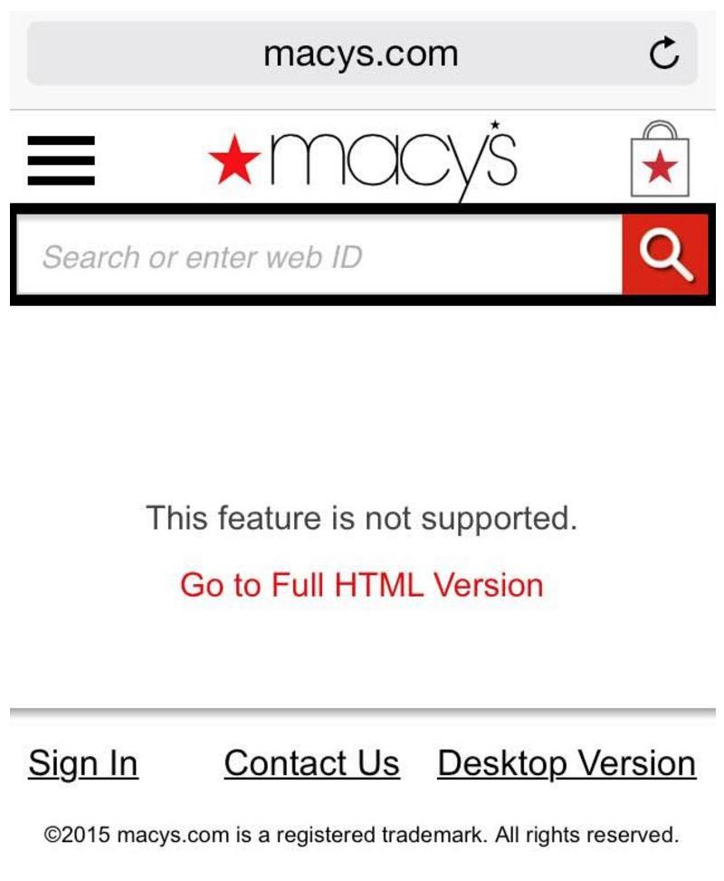 This mobile screenshot shows how Macy's loses sales due to the lack of a mobile responsive Black Friday landing page.