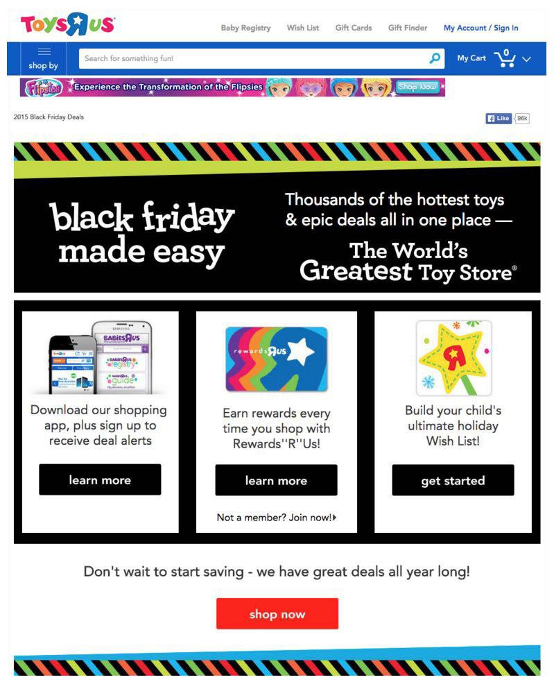 This picture shows how Toys R Us uses landing pages to increase Black Friday sales.