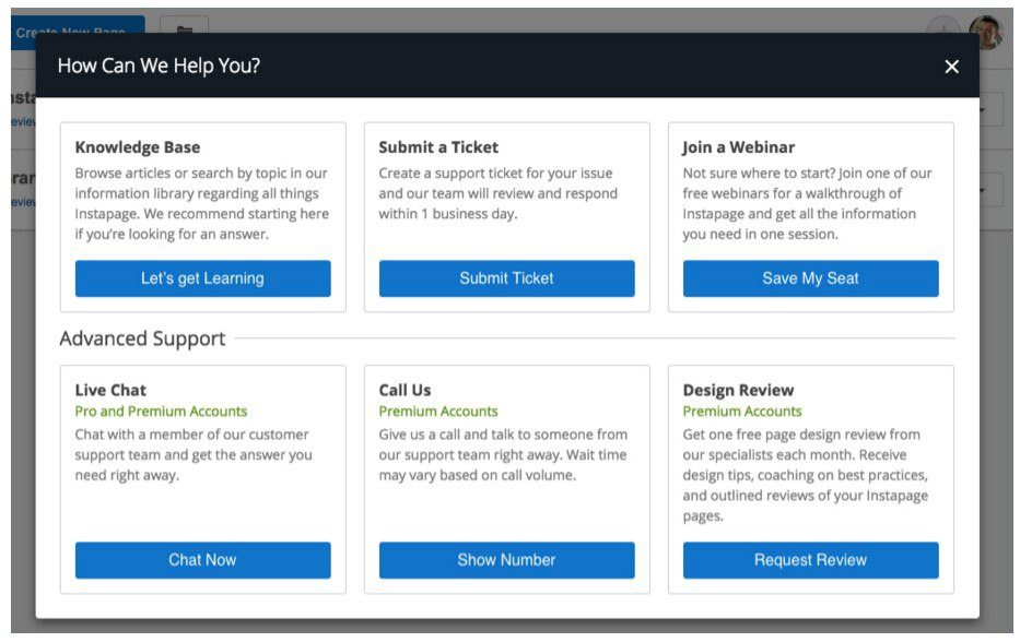 This picture shows Instapage's new knowledge base help center for landing pages.