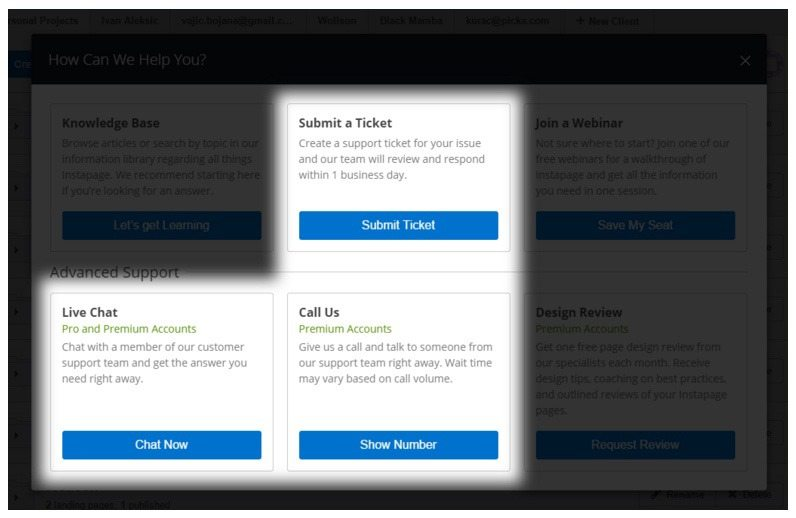 This screenshot shows how to get advanced help support with Instapage's Premium plan.