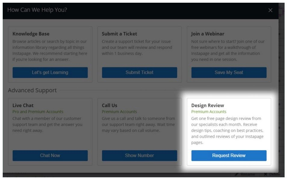 This screenshot shows you Instapage Premium plan users can get their landing page template reviewed.